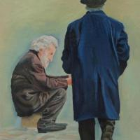 This is a painting by Georgian artist. It describes the life of older people.