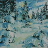 This painting shows the strictness of winter in the forest,
