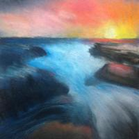 Colorful sunset by the ocean soft pastel drawing