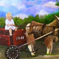 This is only a sample of a original artwork that has since been sold. There is a story behind this work. Many years ago in the 30's through early 50's a photographer took a wagon with a goat to the local mill hills in Greenville, Sc capturing the children