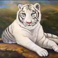 The Great Cats have always been something I have thought about painting for so long now. This is my very first attempt at a white tiger, but I wanted this to be more than just a portrait, but also a landscape as well