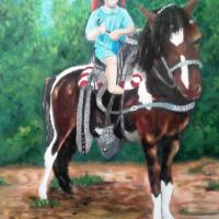 Little baby on a pony out in the country enjoying the beauty of nature, oil on stretched canvas 15 hours of painting time