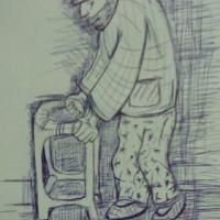 drawing in pen of and old man in hospital
