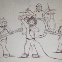 a drawing of a band mid song