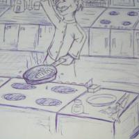 a drawing in pen of a top chef cooking fish