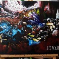 A commissioned A2 painting of the warhammer 40000 battle