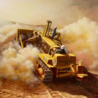 That's the new painting season underway with the first commission ready to despatch to its owner. 'Desert Cat' features a Caterpillar D8H-68a dozer on a McAlpines contract in the Sudan back in the day constructing irrigation canals and a sugar factory. No