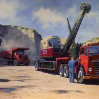 My latest painting 'When Fodens roamed the Earth' 1968 at one of  Boyds of Carnmoney's quarries north of Belfast and a brand new RB-22 has arrived from the dealers on the company's 1953 Foden S18 (120 Gardner powered ) double drive and Dyson lowloader. It
