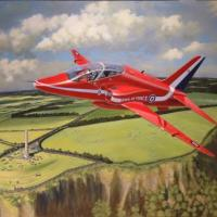 Latest commission and this time we are airborne!  To commemorate the 2013 armed forces day at Carrickfergus when a single Red Arrow flew south from the main display and low over the Knockagh war memorial overlooking Belfast lough from the northern shore.